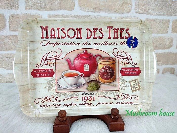點點蘑菇屋 高級進口義大利製Easy Life 33x22公分美耐皿托盤-特選茶 壓克力茶盤 鄉村風雜貨 現貨