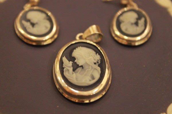 【家與收藏】特價稀有珍藏歐洲古典法國優雅精緻CAMEO女孩肖像純銀鑲嵌浮雕墜子/耳環17