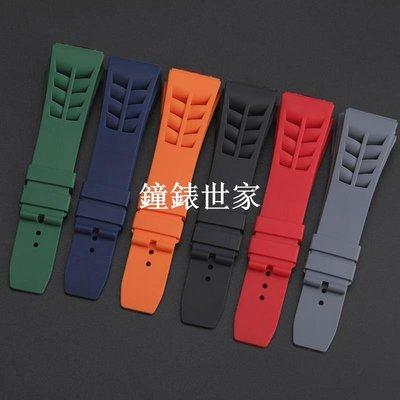 鐘錶世家硅胶表带适配RICHARD MILLE 理查德米勒表带凸25mm男防水表带