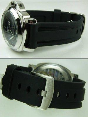 【錶帶家】代用Panerai 沛納海 SEIKO BALL ORIS 高級PU膠錶帶非矽膠帶 26mm 收 24mm