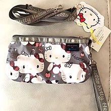 現貨 LeSportsac 8105 Kitty 灰色 凱蒂貓聯名系列手掛繩多夾層化妝包 零錢包 收納包 降落傘防水 大號  可當斜背包 附背帶款 可斜背