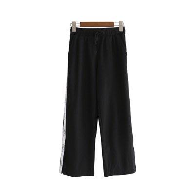 休閒 褲 寬管 九分褲-側邊字母白條寬鬆女褲子73tq36[獨家進口][米蘭精品]