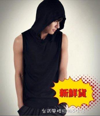 韓版連帽背心素色背心無袖潮T韓版連帽T素面T短袖T恤