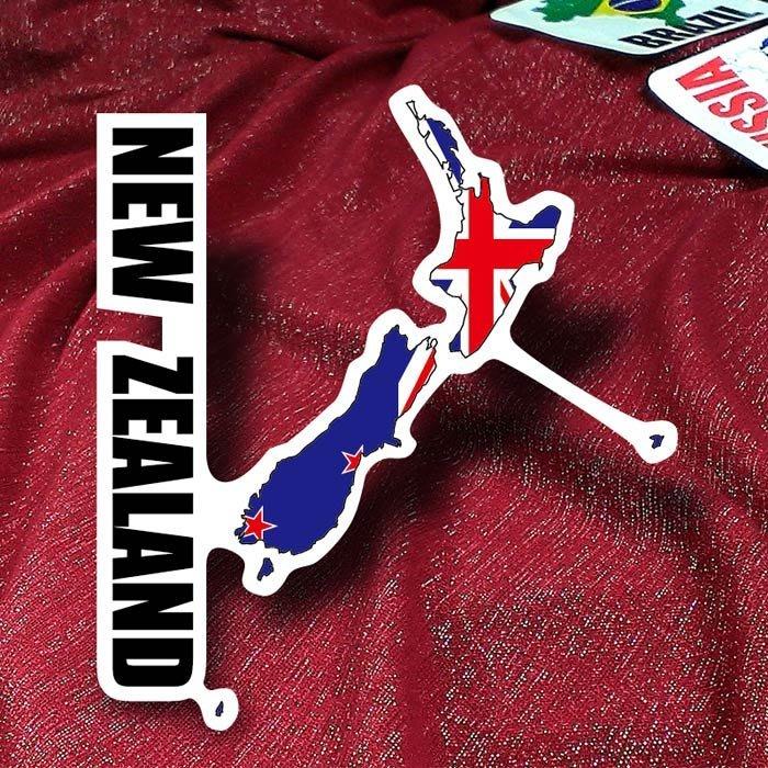 【衝浪小胖】紐西蘭國旗地圖抗UV、防水登機箱貼紙/New Zealand/世界多國款可收集和訂製