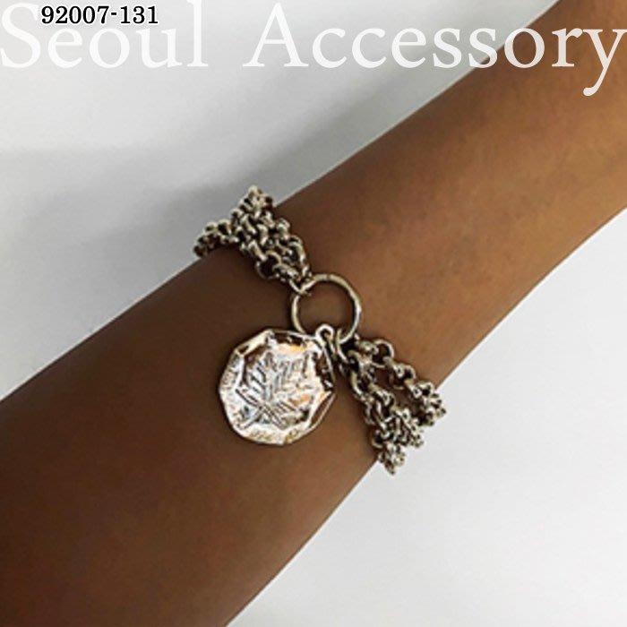首爾飾集 正韓國製 官網款 多角形硬幣綴飾多層次鍊條手鍊手環92007-131