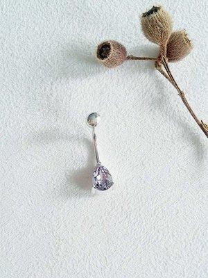 8 mm梨形鑽・肚臍環 紫 925純銀