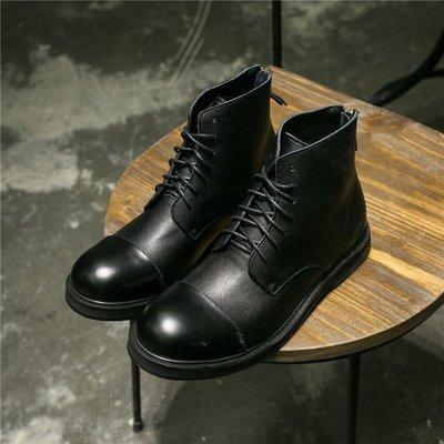FINDSENSE內增高男士靴子真皮高幫鞋系帶後拉鏈大頭皮靴