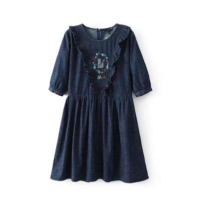 甜美森林系木耳邊荷葉邊刺繡貓咪短袖牛仔娃娃洋裝連身裙