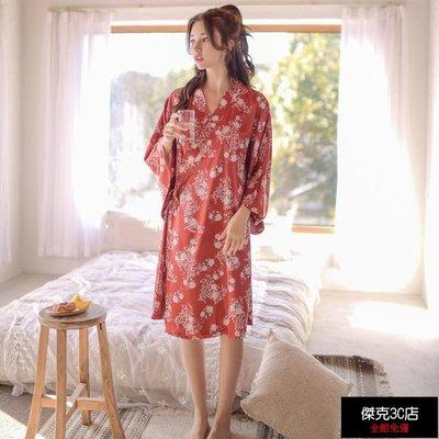【促銷免運】浴衣 日式和風睡衣女春夏印花緞面櫻花和服長袖繫帶長睡裙薄浴衣家居裙【傑克3C店】