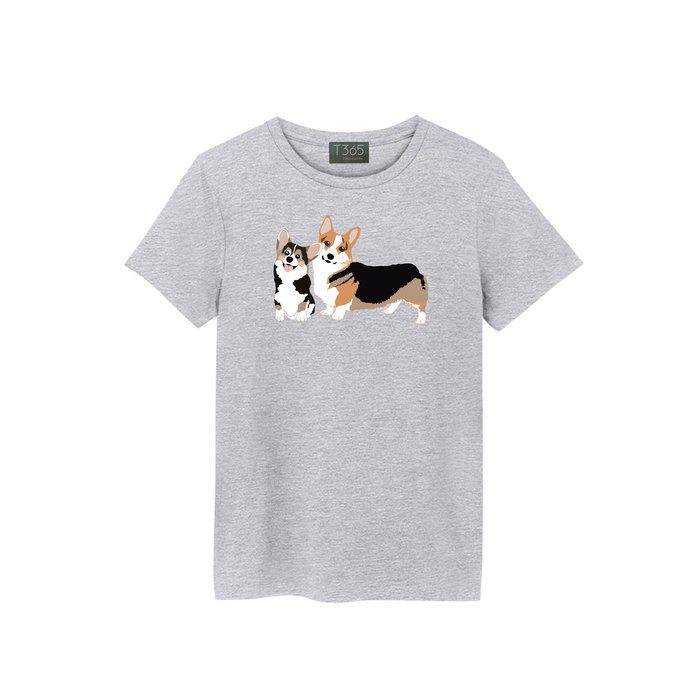 T365 柯基 柯基犬 狗狗 手繪 卡通 圖案 T恤 男女可穿 多色同款可選 短T 素T 素踢 TEE 短袖 上衣 棉T