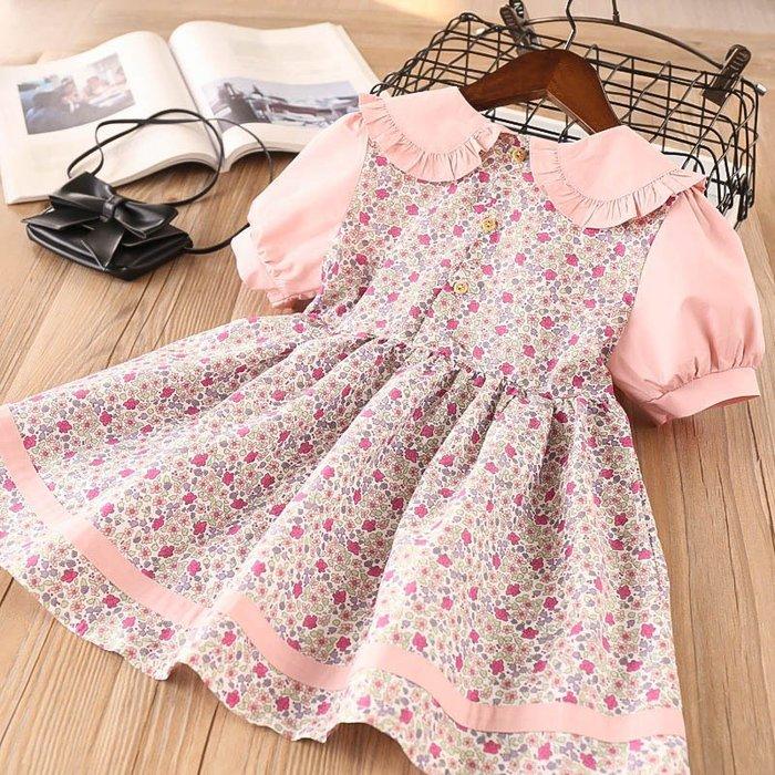 •*~ 辣媽咪衣飾小舖 ~*•❤童裝系列❤K930236韓版兒童夏款歐美風甜美可愛碎花翻領公主裙洋裝