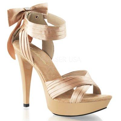 Shoes InStyle《五吋》美國品牌 FABULICIOUS 原廠正品緞面蝴蝶結厚底高跟涼鞋 有大尺碼『駝色』