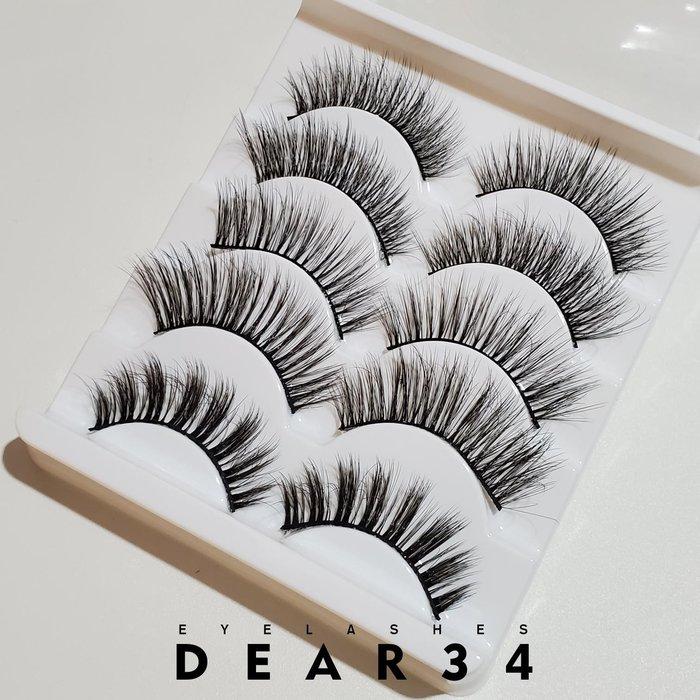 《Dear34》5款綜合0.07細纖維濃密纖長3D-141硬梗眼中長眼尾加長假睫毛不同款五對入cosplay歐美捲翹