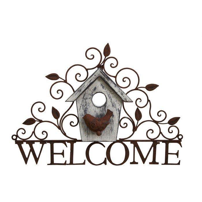 《齊洛瓦鄉村風雜貨》日本zakka雜貨 復古仿舊鳥窩造型掛飾 welcome小鳥造型玄關壁掛 居家裝飾 店家佈置