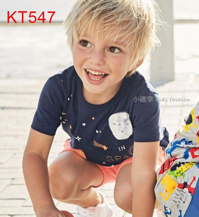 小確幸衣童館KT547 歐美款男童純棉太空夢火箭T夏季短袖 百搭單品