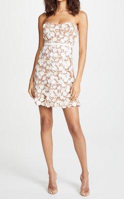 正品 For Love & Lemons 現貨在台 S號一件 膚色內裡蕾絲花朵肩帶(可拆)鋼圈洋裝