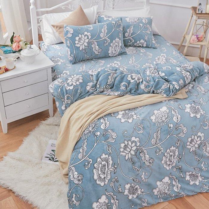 法蘭絨 / 單人【芬妮雅】含兩件枕套  鋪棉床包薄被毯組  戀家小舖AAR115