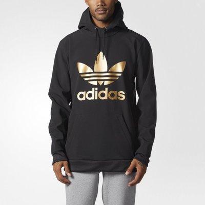 》P.S 》adidas Originals 愛迪達 三葉草 寬版 帽t 黑金 連帽 長袖T恤 BR7944