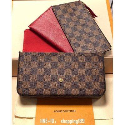 精品 LV N63032 咖啡色棋盤格 三件式 信封式 斜背包 手拿包 WOC
