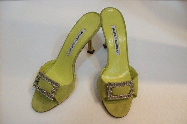 *旺角名店* Manolo Blahnik 淺綠色鑽飾高跟鞋 慾望城市 JIMMY 晚宴鞋 紅底35.5 [02060303]