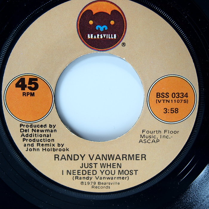 45 rpm 7吋單曲 Randy Vanwarmer 【Just when I need you the most】
