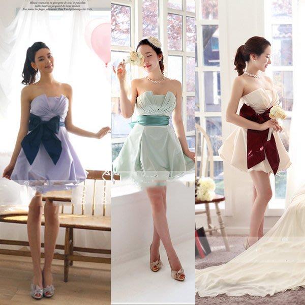5Cgo【鴿樓】會員有優惠 39051372759 新娘結婚禮服敬酒晚禮服收腰連衣裙宴會晚會綁帶 拉鏈款 伴娘禮服伴娘服
