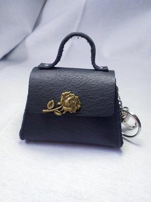 L.Y牛皮手工製迷你耳機包吊飾零錢包鑰匙包 黑色