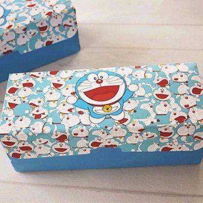(含底托)藍色機器貓長方形瑞士蛋糕卷包裝盒杯子紙杯蛋糕盒曲奇餅乾烘焙包裝盒彌月結婚禮盒磅蛋糕水果條伴手禮小...