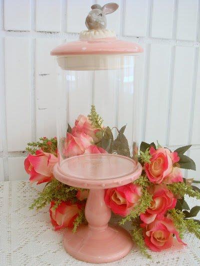 ~蘇菲亞精品傢飾~高耳兔陶瓷粉色玻璃系列/置物罐/收納罐/展示罐/儲物罐