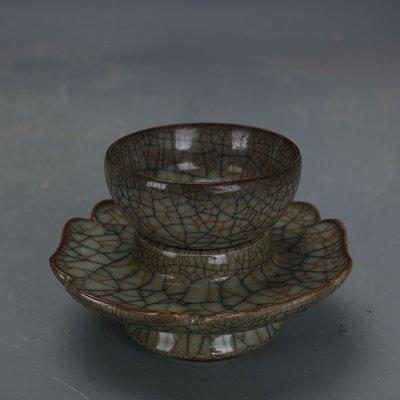 ㊣姥姥的寶藏㊣ 宋代哥窯金絲鐵線茶杯茶托配套  出土文物古瓷器 手工瓷古玩收藏