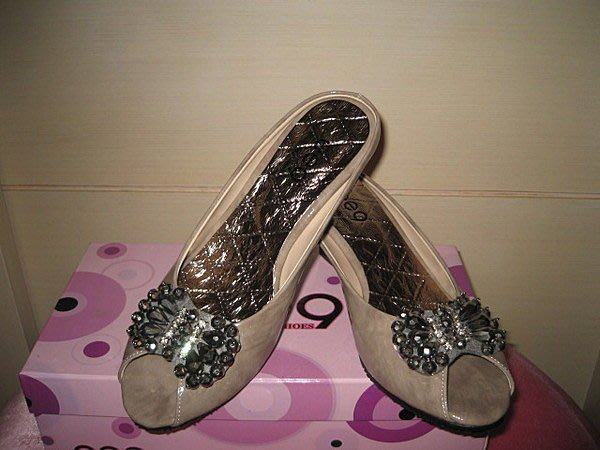 浪漫滿屋 ee9蝴蝶結晶鑽露指楔型高跟鞋