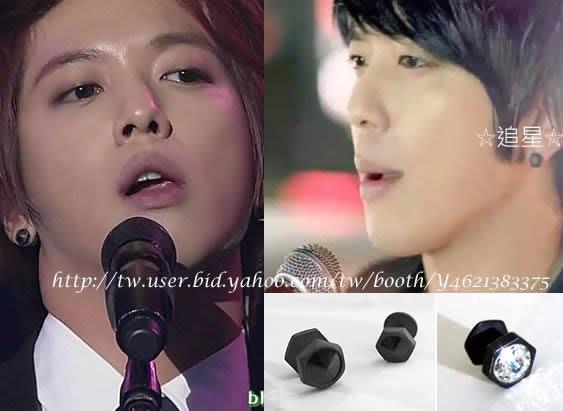 ☆追星☆ 特價A58(二款可選)錐形六角耳環(1個)CN Blue鄭容和2AM昶旻 黑鑽ASMAMA訂購 韓國進口