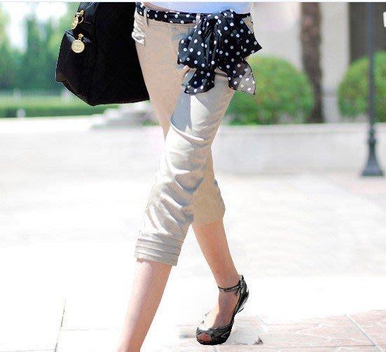 [0619-06]新款春夏裝 韓版休閑褲子七分褲顯瘦馬褲L號杏色黑色現貨特價