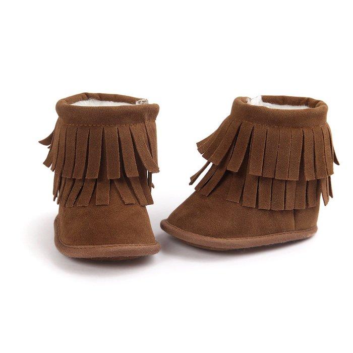森林寶貝屋~咖啡流蘇雪鞋~學步鞋~幼兒鞋~寶寶鞋~保暖鞋~嬰兒鞋~雪鞋~棉鞋~童鞋~粘扣設計~彌月送禮~特價