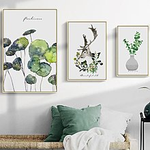 客廳沙發背景牆裝飾畫畫芯北歐簡約清新植物麋鹿創意組合裝飾畫