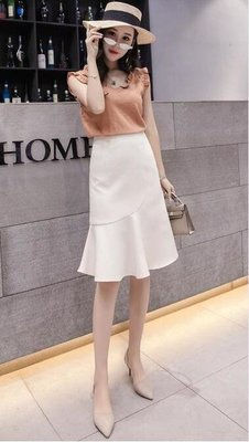 2019年春夏款新款女士半身裙子仙女超仙森系魚尾裙中長款包臀半裙  一件免運