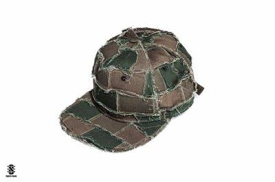 美國東村【SlightlyNumb】DAZZLE CAP 不規則 拼接 洗舊 棒球帽 軍綠配色