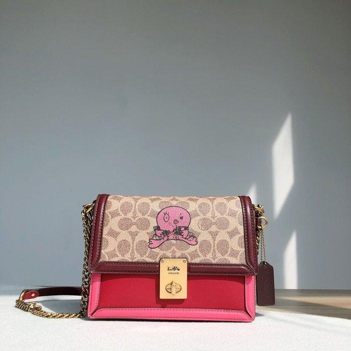 美國名品折扣店~ 特賣 COACH 5460 新款Hutton拼色鏈條包 女士翻蓋單肩包 斜跨包 側背包 女包