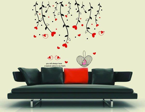 壁貼工場-可超取需裁剪 三代特大尺寸壁貼 貼紙 壁貼 貼紙  牆貼室內佈置 愛心垂柳 AY828