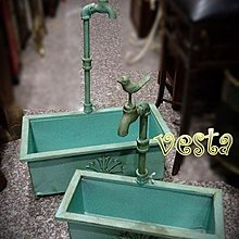 *Vesta 維斯塔*Loft 全鐵仿舊小鳥水龍頭花盆(大+小)