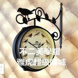 【格倫雅】^小鳥報時雙面掛鐘/歐式地中海田園靜音鐘表/店面客廳 31818[g-l-y58