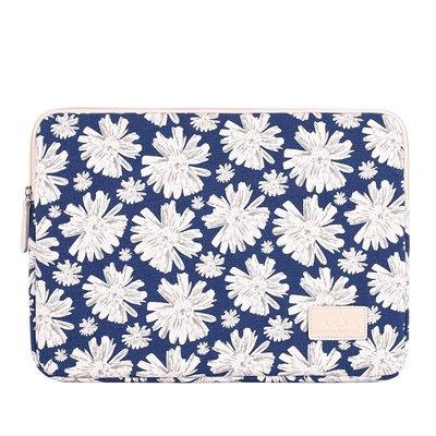 手拿包帆布電腦包-藍底清新雛菊印花女包包73vy20[獨家進口][米蘭精品]