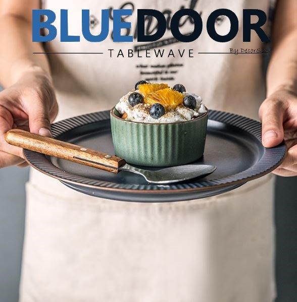 BlueD_ 依藍系列 復古條紋 小碟子 醬料碟 調味碟 調料碟 番茄醬 沙拉醬 布丁 仿舊陶瓷 創意設計 可微波 歐式