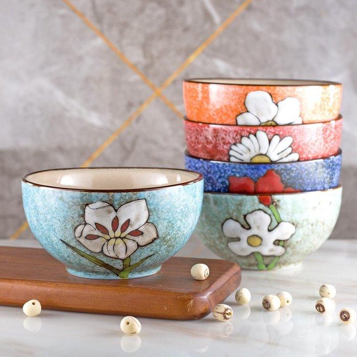 奇奇店-日式復古釉下陶瓷碗創意手繪家用吃飯碗可愛米飯碗菜碗泡面碗套裝#簡約 #輕奢 #格調