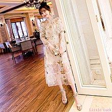 Little-Luck~ MIUCO2019春夏新款很仙的裙子洋裝星星刺繡亮片網紗上衣+紗裙套k