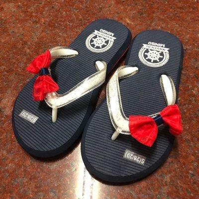 MINISO購入 紅色蝴蝶結點綴 閃亮亮夾腳托鞋 女孩拖鞋 女童涼鞋