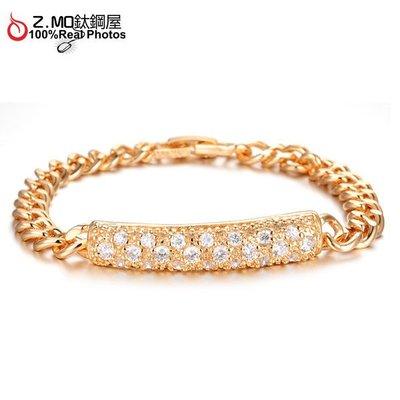 白色鑲鑽鍍金手鍊 整體造型飾品 新娘首飾 氣質單條價【CKG434】Z.MO鈦鋼屋