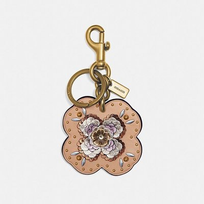 愛麗絲小舖~全新真品 COACH32677 皮革亮片貼飾茶香玫瑰手袋掛飾~櫸木色