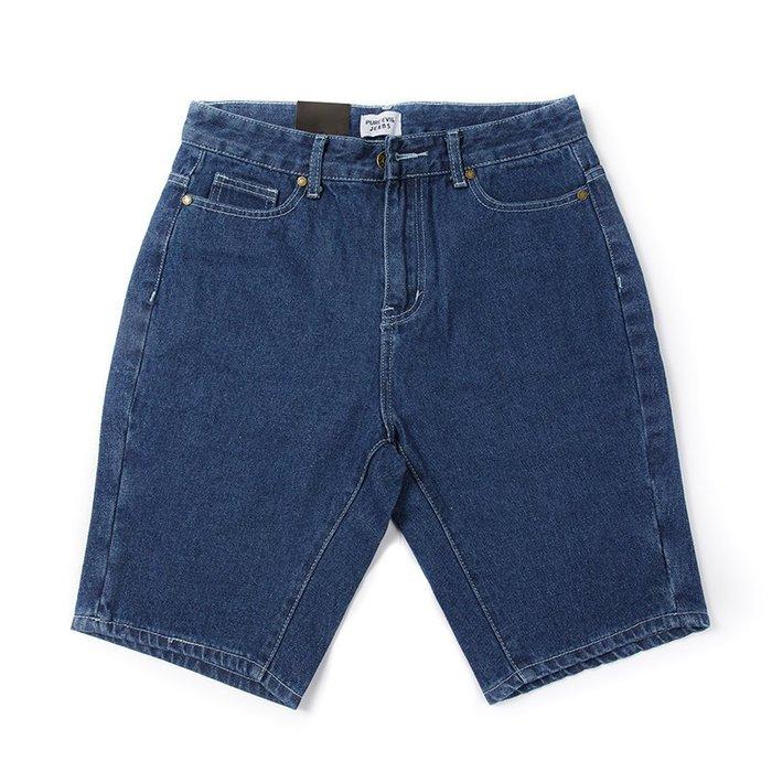 【Random】【原色五分牛仔短褲】牛仔短褲 原色 硬挺 布邊 素面  藍 M-XL