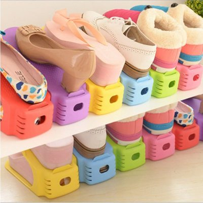 糖果色 可調節鞋架 收納鞋架 立體鞋架 不挑色出貨 【庫奇小舖】
